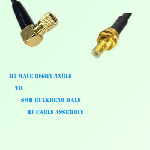 Microdot 10-32 M5 Male R/A to SMB Bulkhead Male RF Cable Assembly