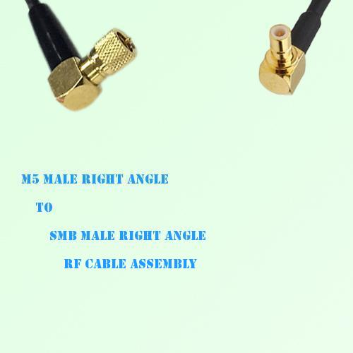 Microdot 10-32 M5 Male R/A to SMB Male R/A RF Cable Assembly