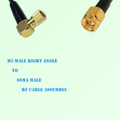 Microdot 10-32 M5 Male Right Angle to SSMA Male RF Cable Assembly