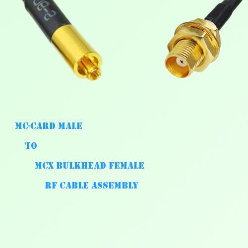 MC-Card Male to MCX Bulkhead Female RF Cable Assembly