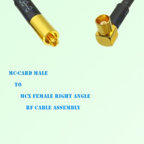 MC-Card Male to MCX Female Right Angle RF Cable Assembly