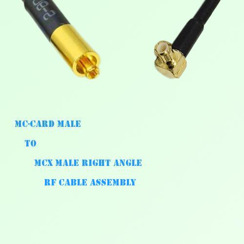 MC-Card Male to MCX Male Right Angle RF Cable Assembly