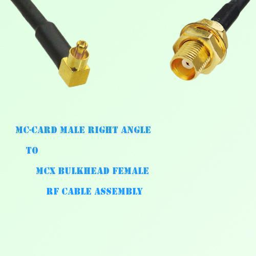 MC-Card Male Right Angle to MCX Bulkhead Female RF Cable Assembly