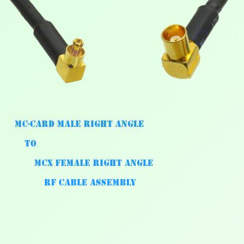 MC-Card Male Right Angle to MCX Female Right Angle RF Cable Assembly