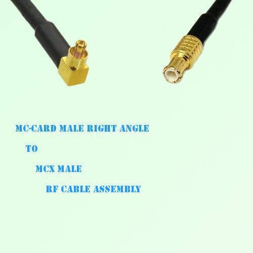 MC-Card Male Right Angle to MCX Male RF Cable Assembly