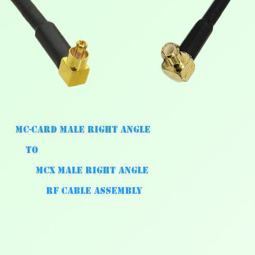 MC-Card Male Right Angle to MCX Male Right Angle RF Cable Assembly