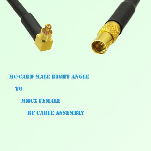 MC-Card Male Right Angle to MMCX Female RF Cable Assembly