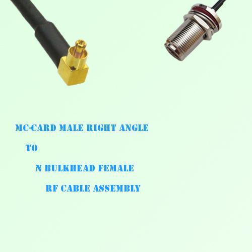 MC-Card Male Right Angle to N Bulkhead Female RF Cable Assembly
