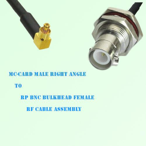 MC-Card Male Right Angle to RP BNC Bulkhead Female RF Cable Assembly