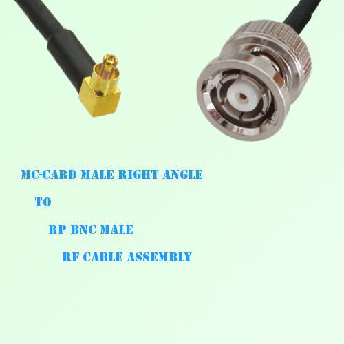 MC-Card Male Right Angle to RP BNC Male RF Cable Assembly
