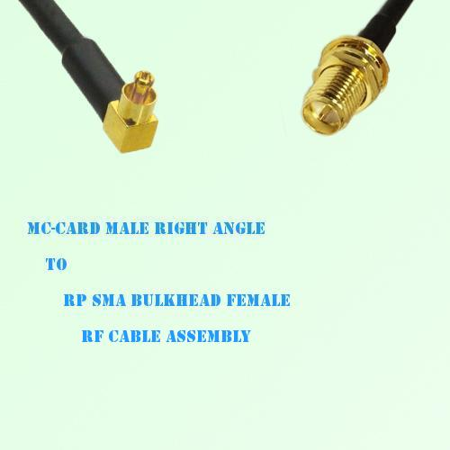 MC-Card Male Right Angle to RP SMA Bulkhead Female RF Cable Assembly