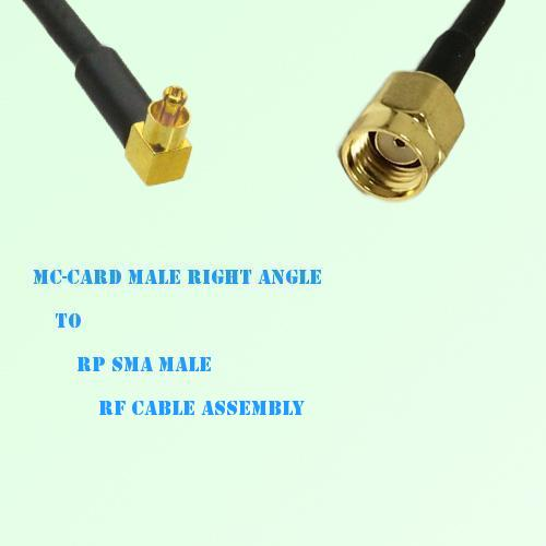 MC-Card Male Right Angle to RP SMA Male RF Cable Assembly
