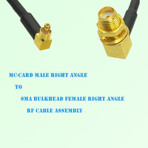 MC-Card Male R/A to SMA Bulkhead Female R/A RF Cable Assembly