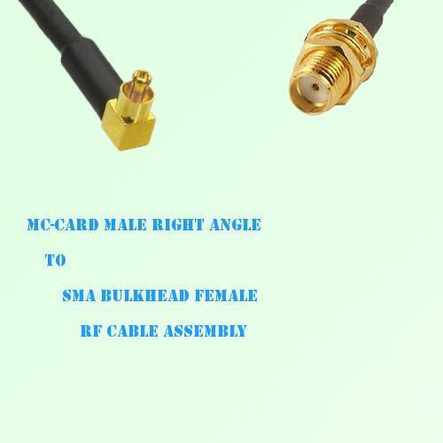 MC-Card Male Right Angle to SMA Bulkhead Female RF Cable Assembly