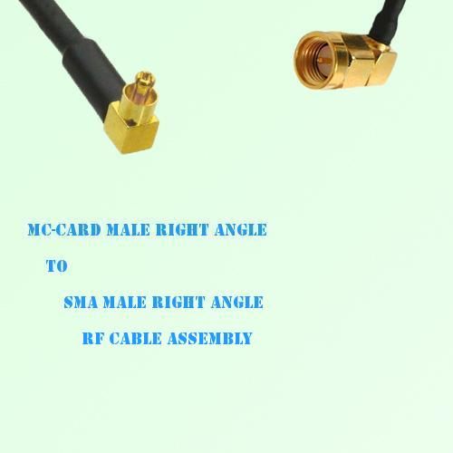 MC-Card Male Right Angle to SMA Male Right Angle RF Cable Assembly