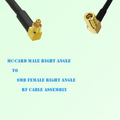 MC-Card Male Right Angle to SMB Female Right Angle RF Cable Assembly