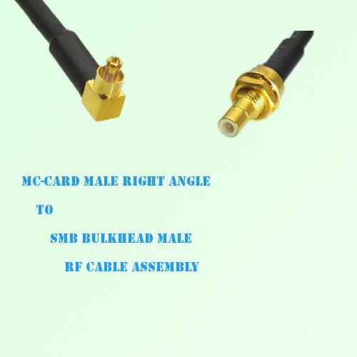 MC-Card Male Right Angle to SMB Bulkhead Male RF Cable Assembly