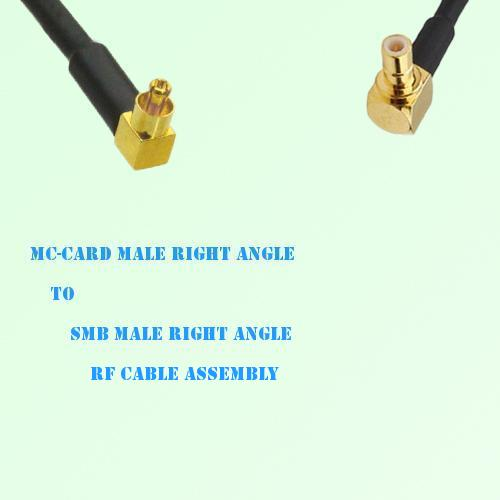 MC-Card Male Right Angle to SMB Male Right Angle RF Cable Assembly