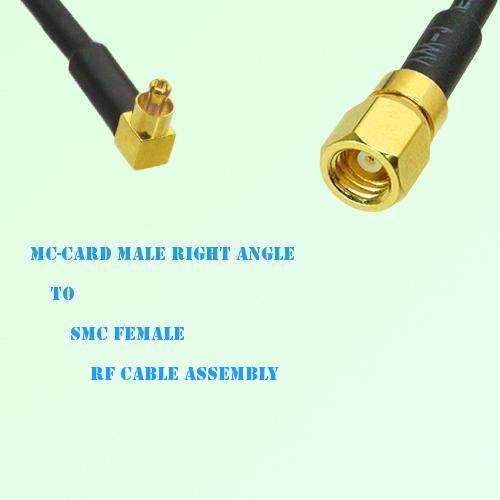MC-Card Male Right Angle to SMC Female RF Cable Assembly