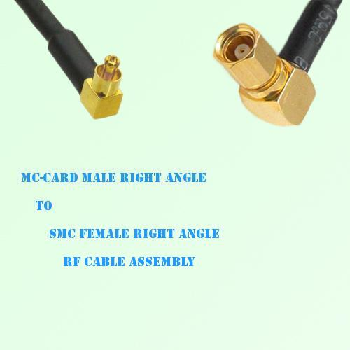 MC-Card Male Right Angle to SMC Female Right Angle RF Cable Assembly