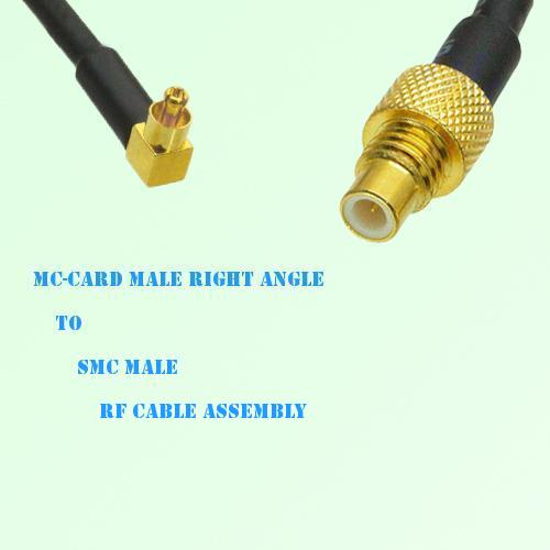MC-Card Male Right Angle to SMC Male RF Cable Assembly
