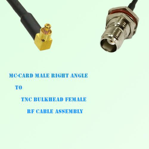 MC-Card Male Right Angle to TNC Bulkhead Female RF Cable Assembly
