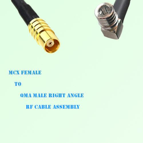 MCX Female to QMA Male Right Angle RF Cable Assembly