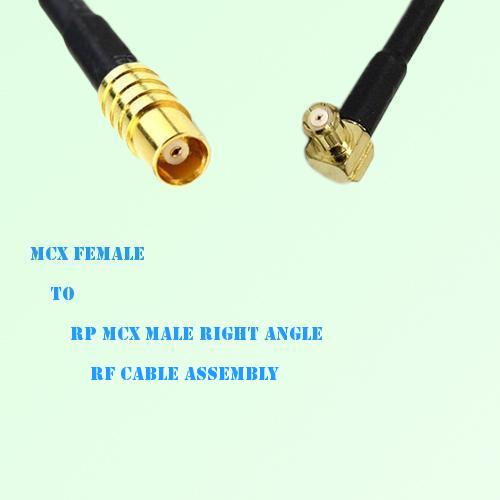 MCX Female to RP MCX Male Right Angle RF Cable Assembly