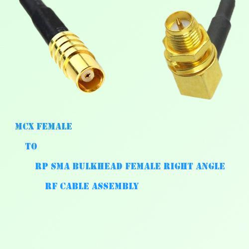 MCX Female to RP SMA Bulkhead Female Right Angle RF Cable Assembly