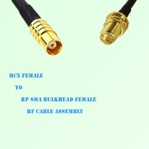 MCX Female to RP SMA Bulkhead Female RF Cable Assembly