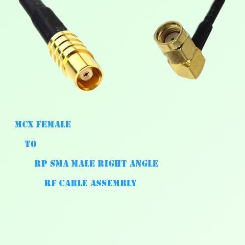 MCX Female to RP SMA Male Right Angle RF Cable Assembly