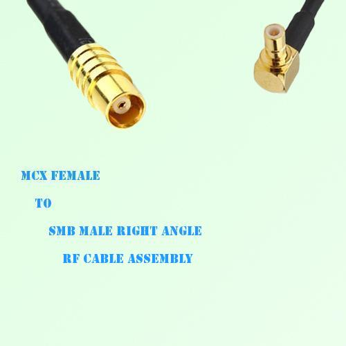 MCX Female to SMB Male Right Angle RF Cable Assembly