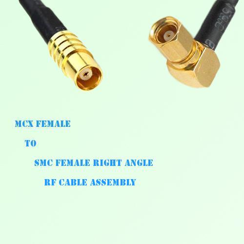 MCX Female to SMC Female Right Angle RF Cable Assembly
