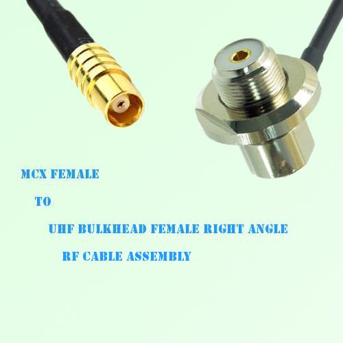 MCX Female to UHF Bulkhead Female Right Angle RF Cable Assembly