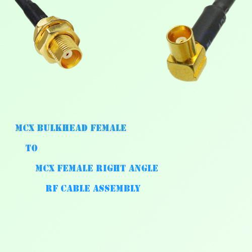 MCX Bulkhead Female to MCX Female Right Angle RF Cable Assembly