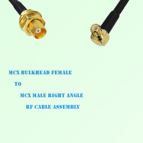 MCX Bulkhead Female to MCX Male Right Angle RF Cable Assembly