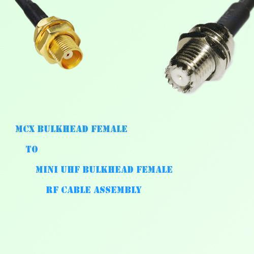 MCX Bulkhead Female to Mini UHF Bulkhead Female RF Cable Assembly