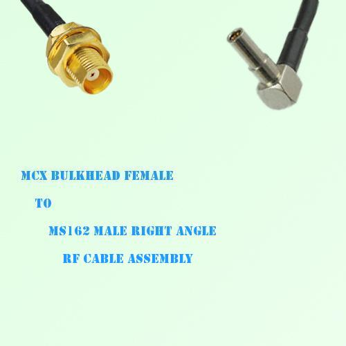 MCX Bulkhead Female to MS162 Male Right Angle RF Cable Assembly