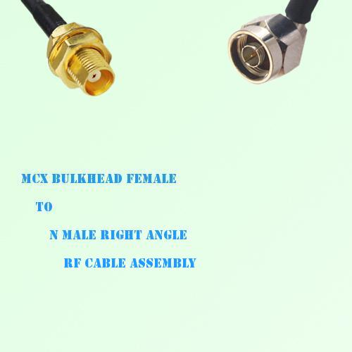 MCX Bulkhead Female to N Male Right Angle RF Cable Assembly