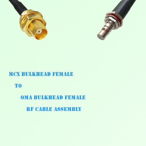 MCX Bulkhead Female to QMA Bulkhead Female RF Cable Assembly