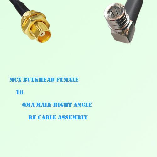 MCX Bulkhead Female to QMA Male Right Angle RF Cable Assembly