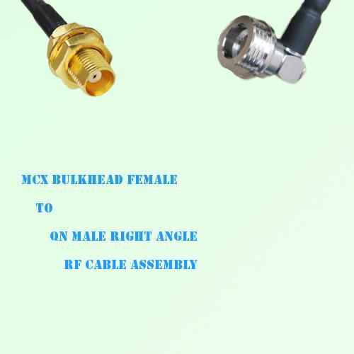 MCX Bulkhead Female to QN Male Right Angle RF Cable Assembly