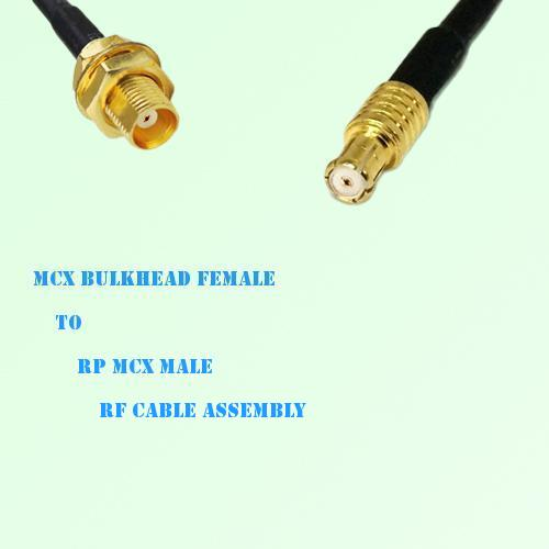 MCX Bulkhead Female to RP MCX Male RF Cable Assembly
