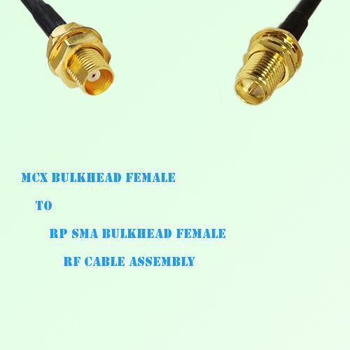 MCX Bulkhead Female to RP SMA Bulkhead Female RF Cable Assembly
