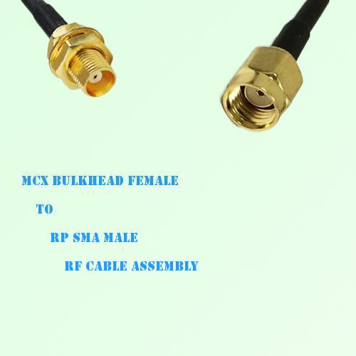 MCX Bulkhead Female to RP SMA Male RF Cable Assembly