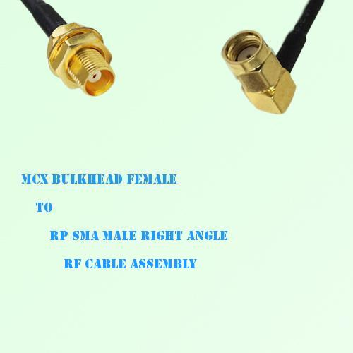 MCX Bulkhead Female to RP SMA Male Right Angle RF Cable Assembly