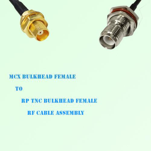MCX Bulkhead Female to RP TNC Bulkhead Female RF Cable Assembly