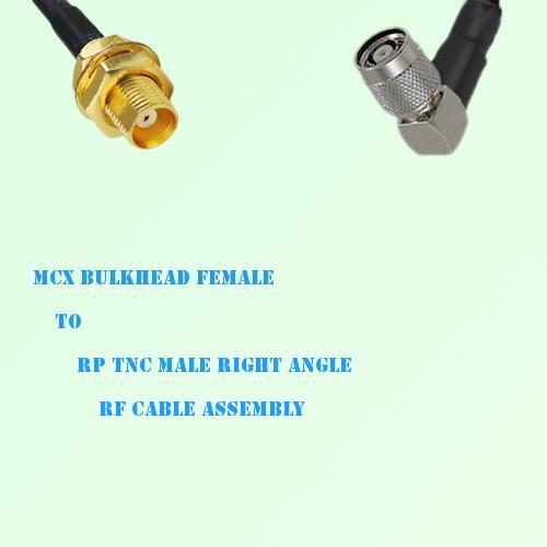 MCX Bulkhead Female to RP TNC Male Right Angle RF Cable Assembly