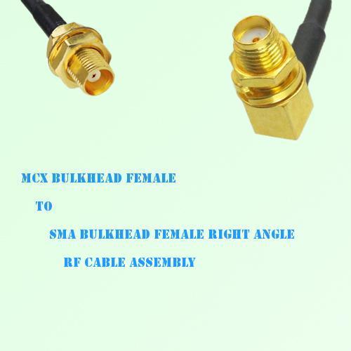 MCX Bulkhead Female to SMA Bulkhead Female R/A RF Cable Assembly