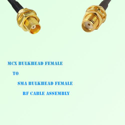 MCX Bulkhead Female to SMA Bulkhead Female RF Cable Assembly